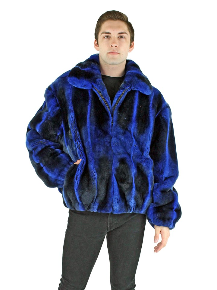 Man's Royal Blue Rex Rabbit Fur Jacket