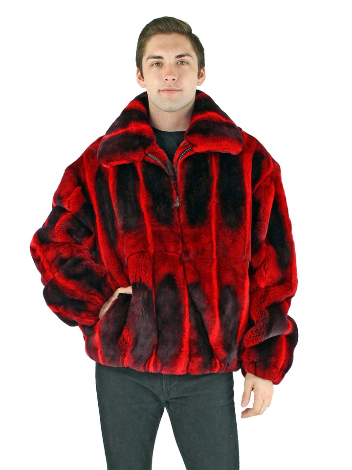 Man's Red Rex Rabbit Fur Jacket