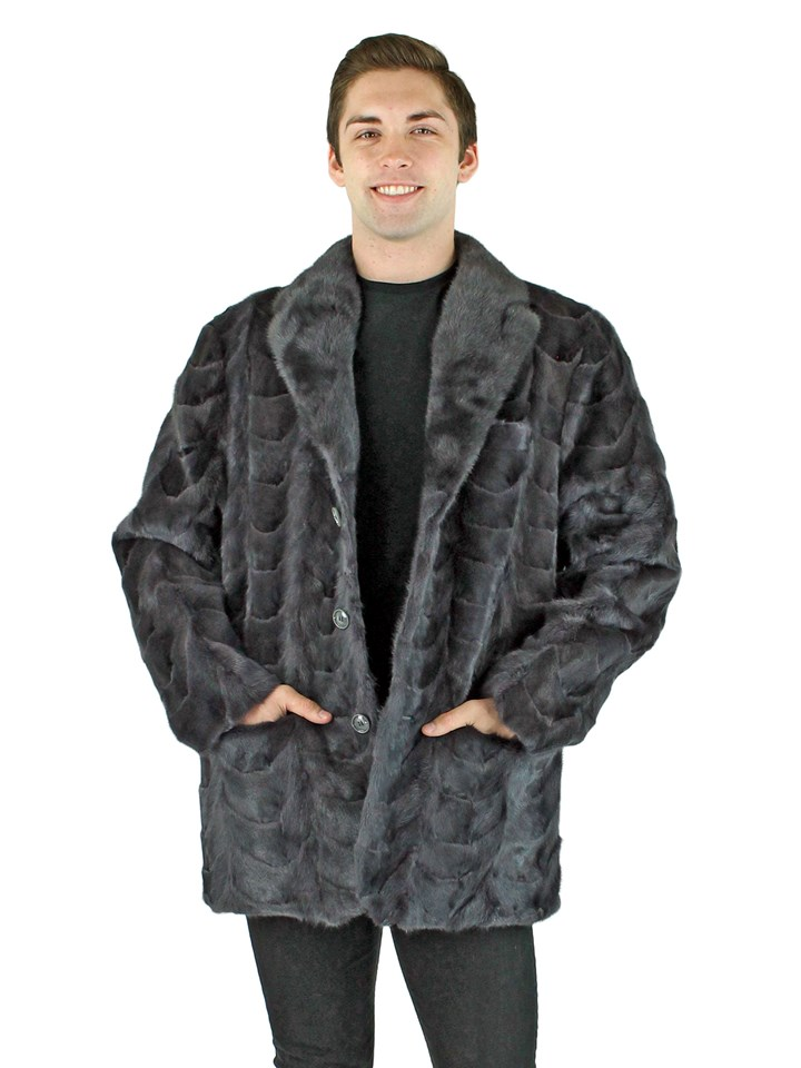 Man's Blue Iris Mink Section Fur Blazer
