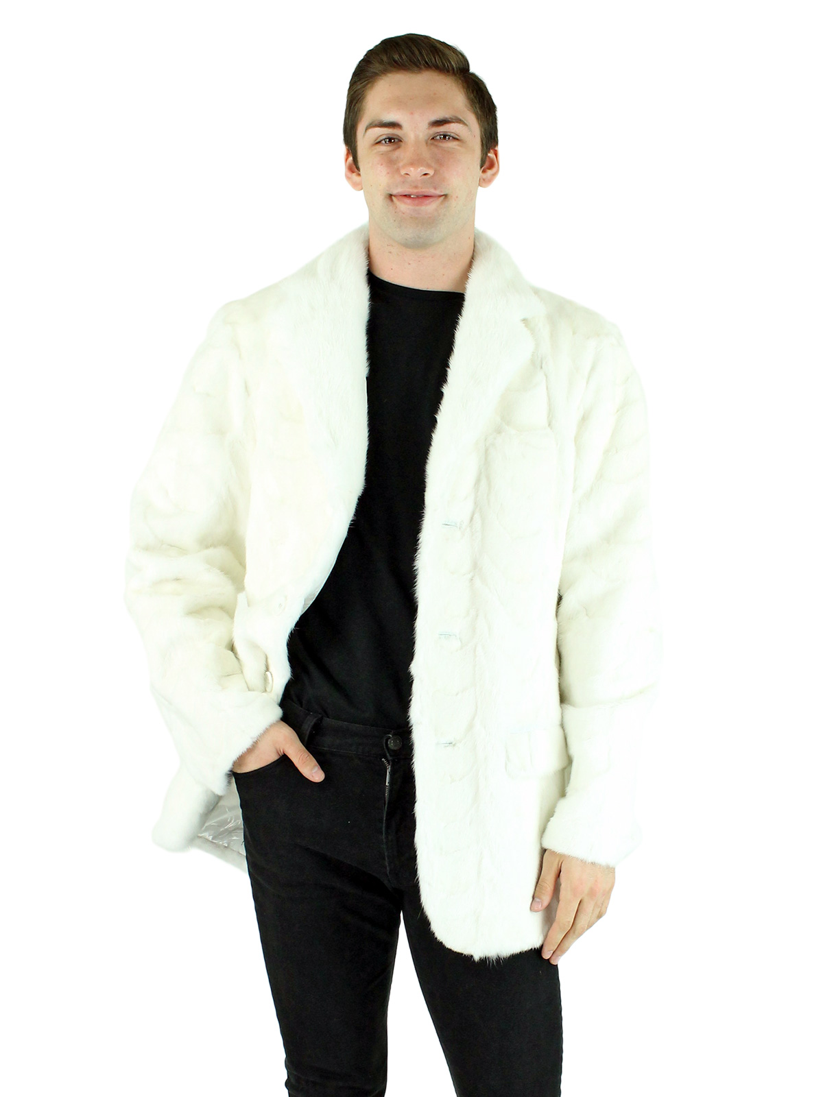 Man's White Mink Section Fur Blazer