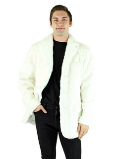 Man's White Mink Section Fur Blazer