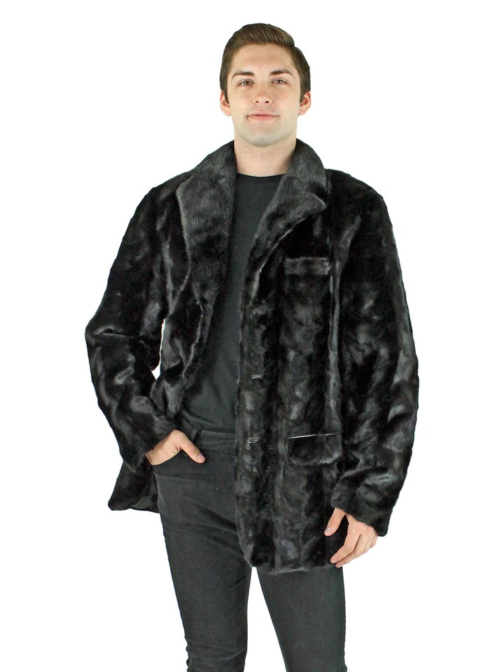 Man's Black Mink Section Fur Blazer