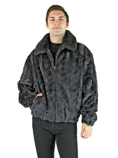 Man's Blue Iris Mink Fur Section Bomber Jacket
