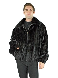 Man's Black Mink Fur Section Bomber Jacket