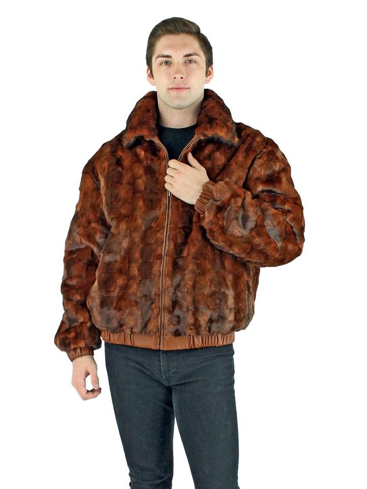 Man's Diamond Whiskey Mink Section Fur Jacket