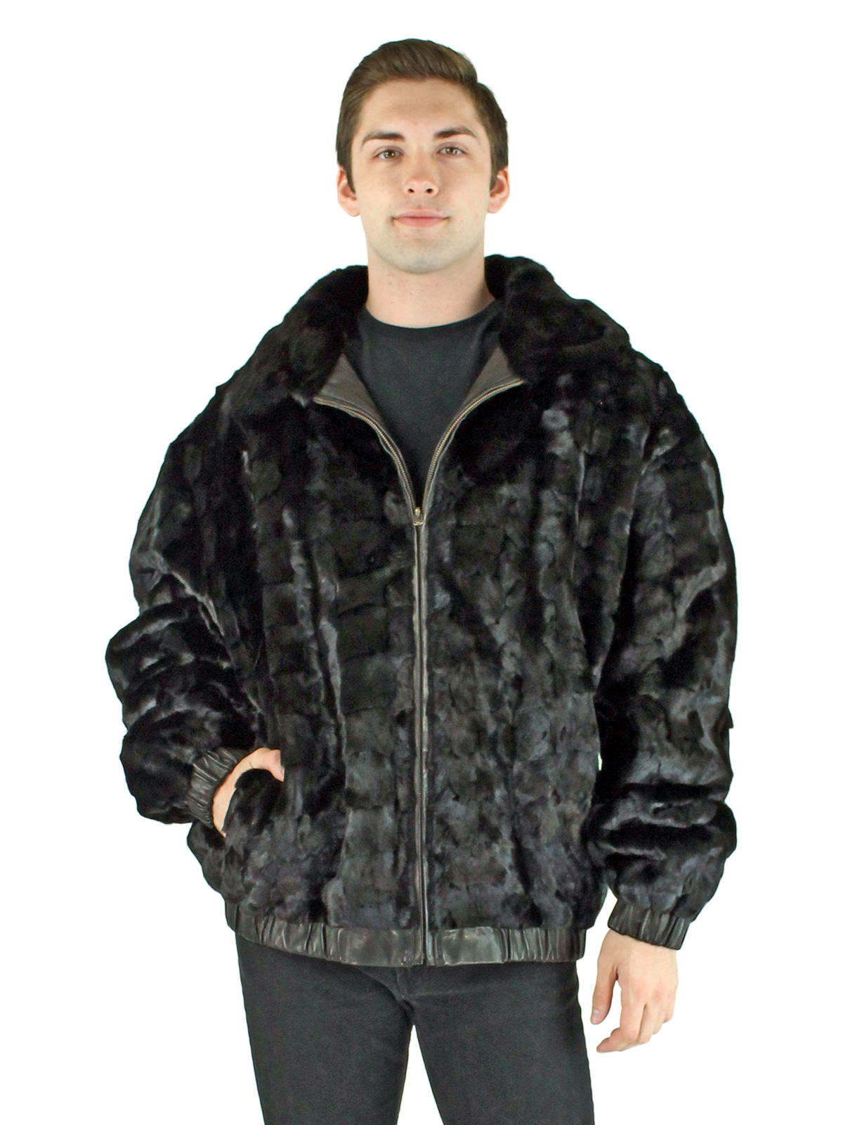 Man's Diamond Black Mink Section Fur Jacket