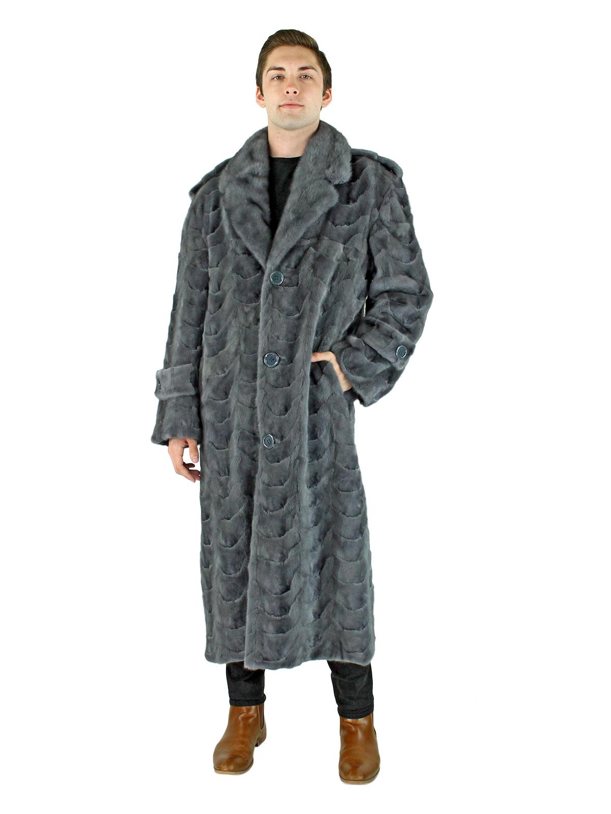 Man's Blue iris Mink Section Fur Coat