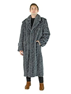 Man's Blue iris Mink Section Fur Coat