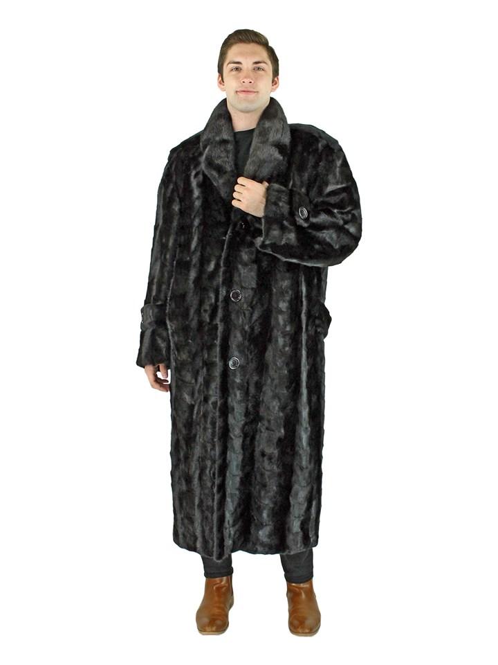 Man's Black Mink Section Fur Coat