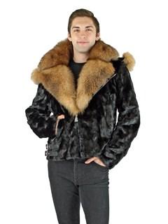 Man's Black Mink Section Fur Motor Jacket with Crystal Fox Collar
