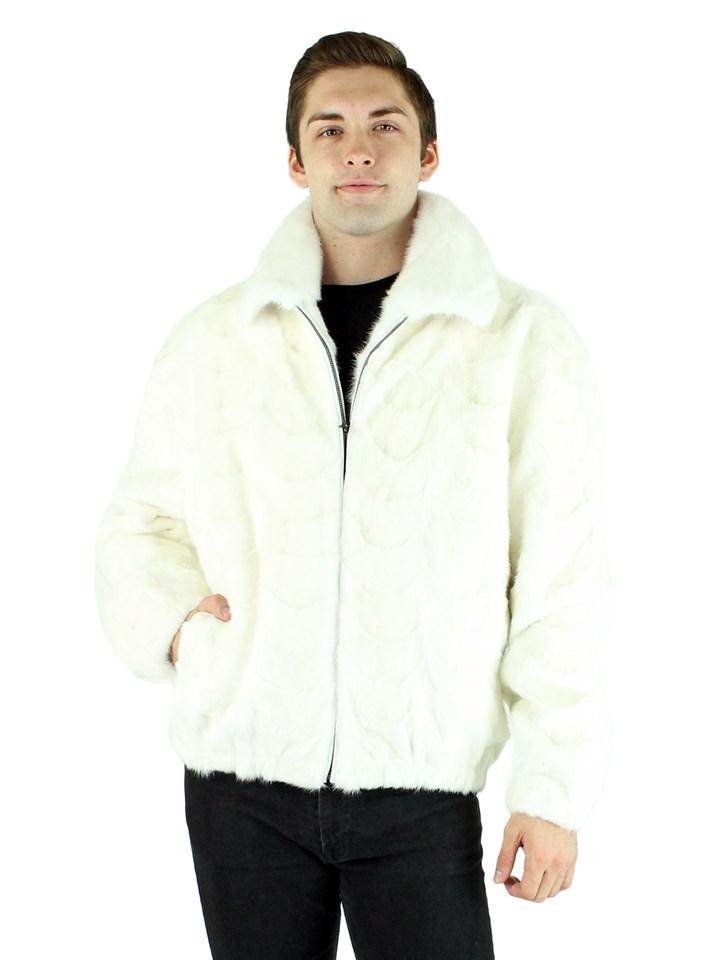 Man's White Mink Fur Section Bomber Jacket