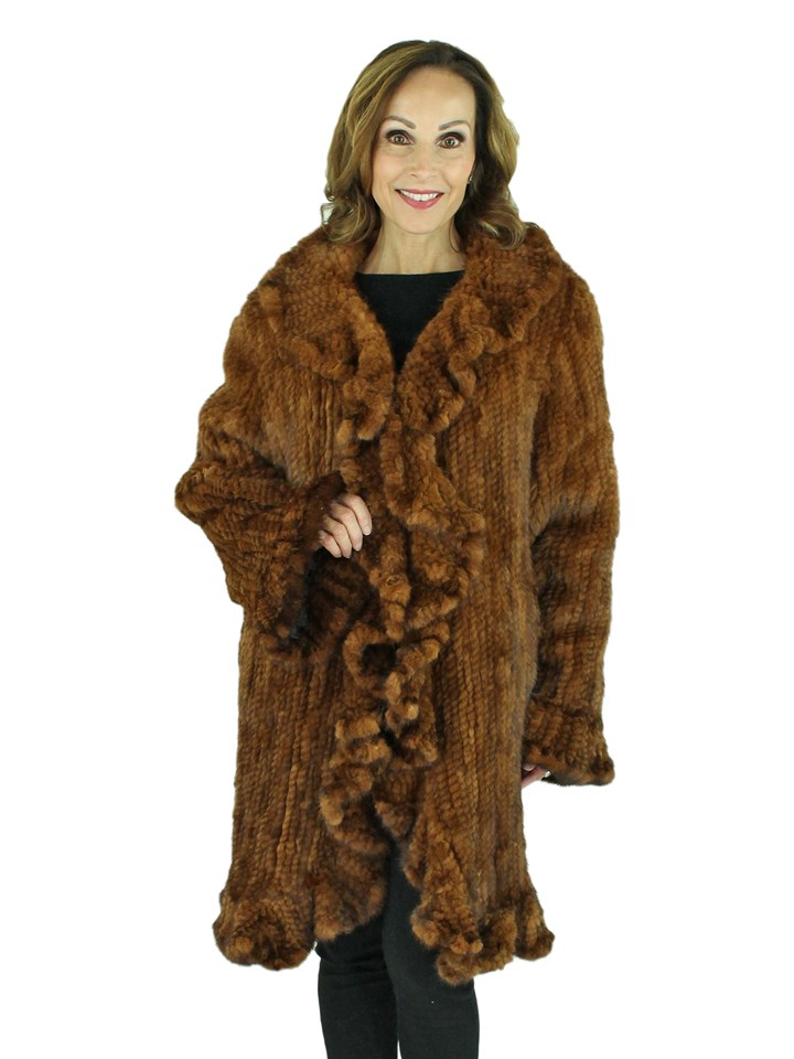 Woman's Whiskey Knitted Mink Fur Stroller