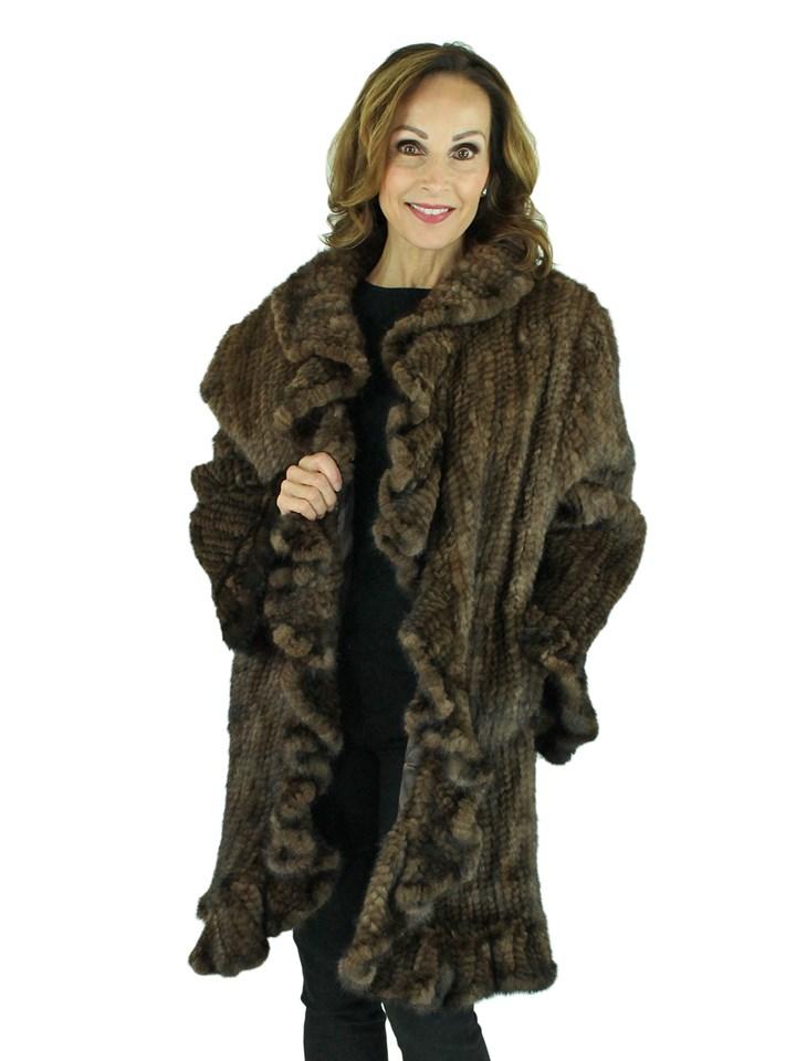 Woman's Brown Knitted Mink Fur Stroller