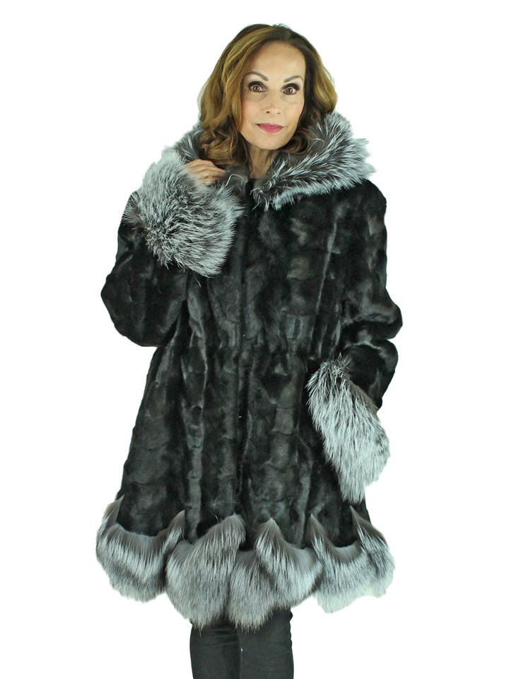 Woman's Black Mink Fur Section Stroller with Hood