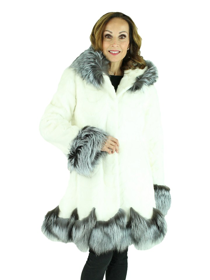 Woman's White Mink Fur Section Stroller with Hood