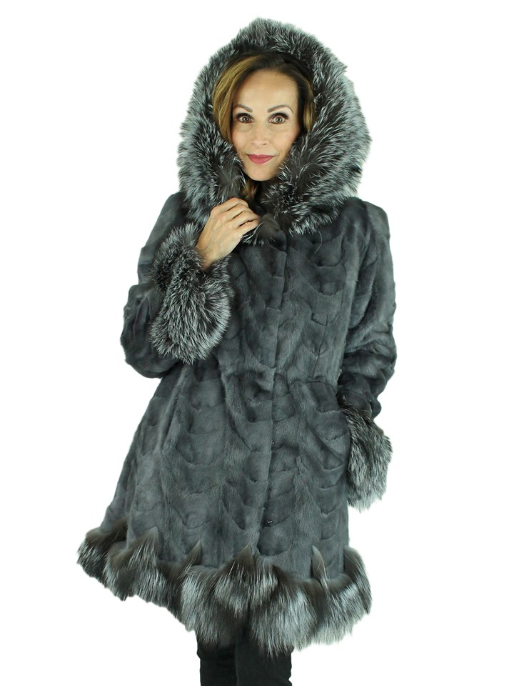Woman's Grey Mink Fur Section Stroller with Hood