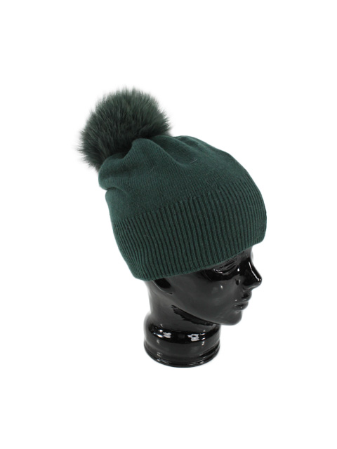 Green Stocking Hat with Fox Pom