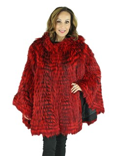 Woman's Red Dyed Fox Fur Cape with Hood