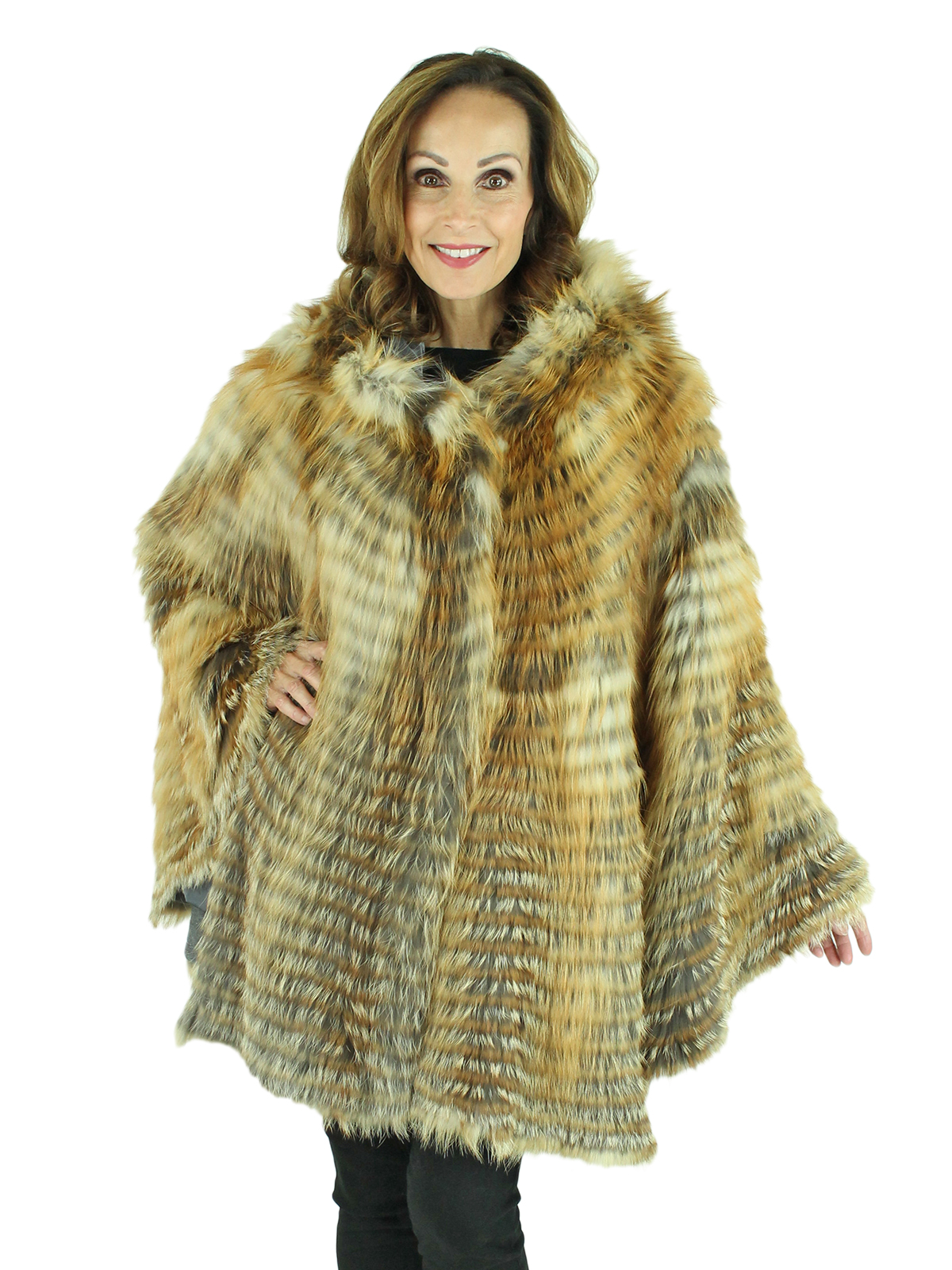 Woman's Natural Red Fox Fur Cape with Hood