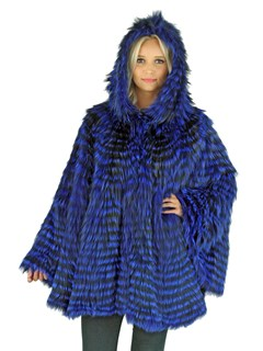 Woman's Royal Blue Dyed Fox Fur Cape with Hood