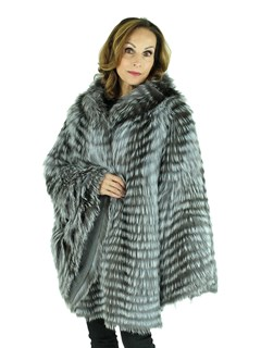 Woman's Natural Silver Fox Fur Cape with Hood
