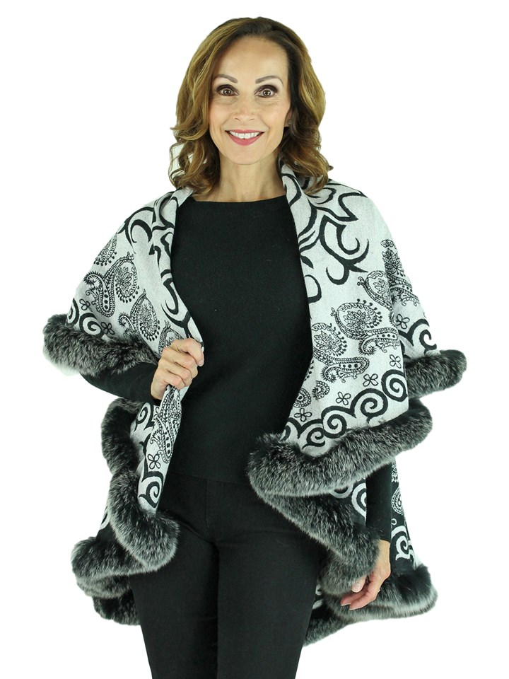 Woman's Grey Wool Cape with Fox Trim