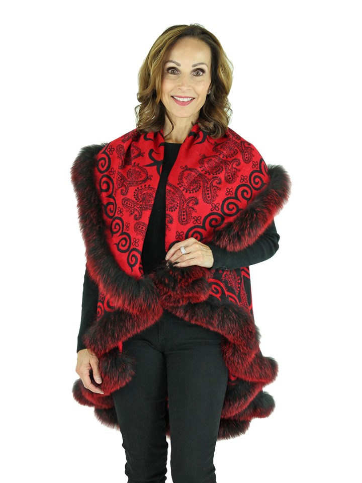 Woman's Red Wool Cape with Fox Trim