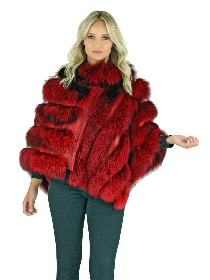 Woman's Red Dyed Fox Fur Poncho