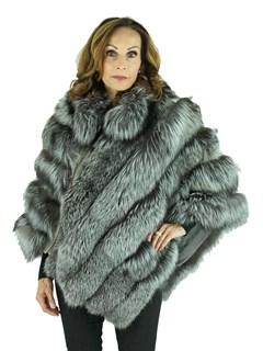 Woman's Natural Silver Fox Fur Poncho