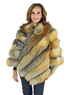 Woman's Natural Red Fox Fur Poncho