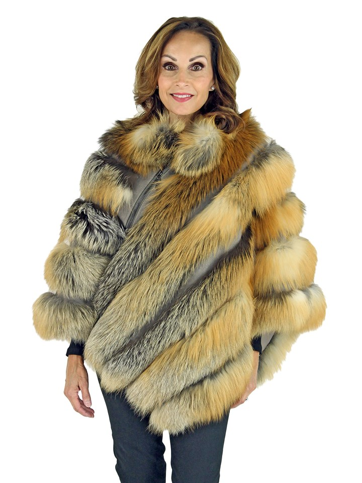 Woman's Natural Red Fox Fur Poncho