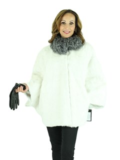 Woman's White Mink Fur Cape with Silver Fox Collar