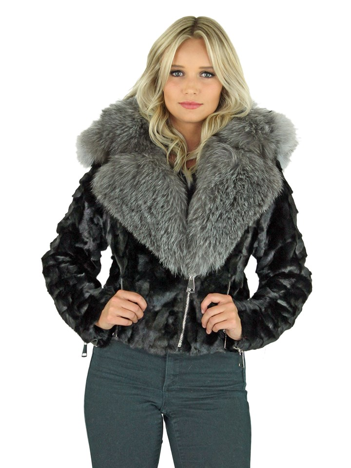 Woman's Black Mink Section Fur Motor Jacket with Silver Fox Collar