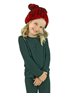 Kid's Red Knitted Rex Rabbit Fur Hat