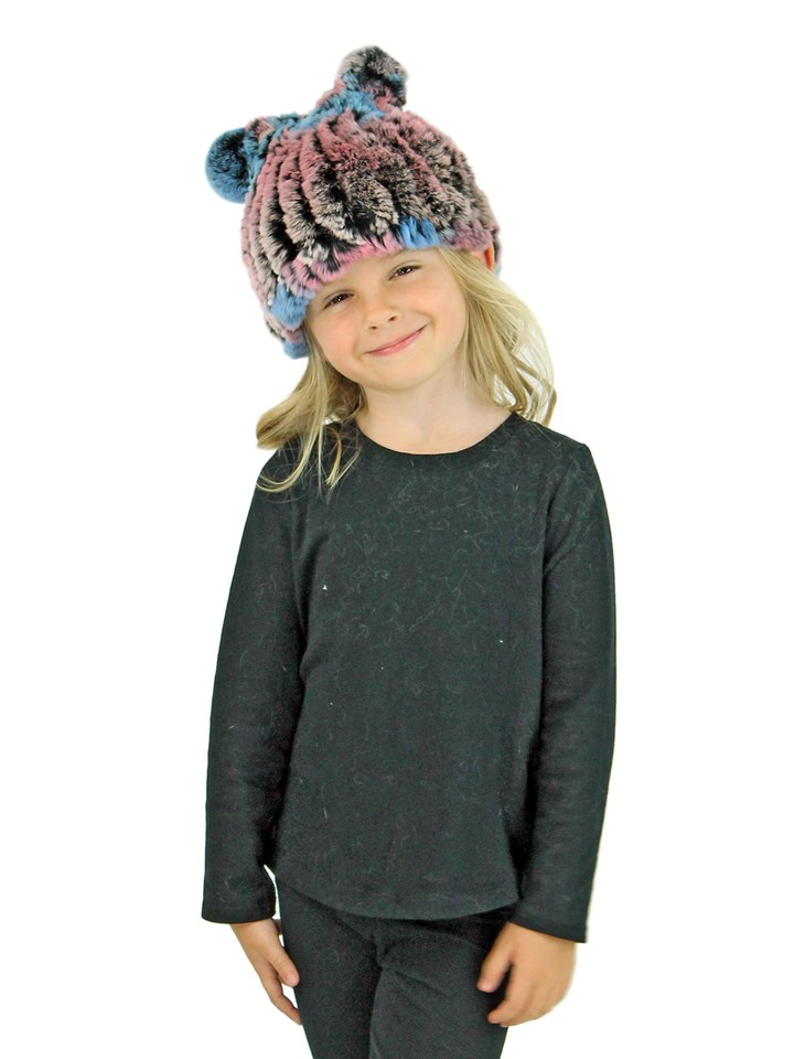 Kid's Multicolor Knitted Rex Rabbit Fur Hat