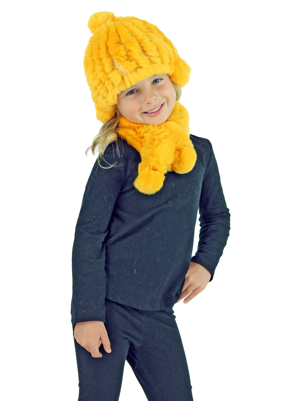 Kid's Yellow Knitted Rex Rabbit Fur Hat and Scarf Set