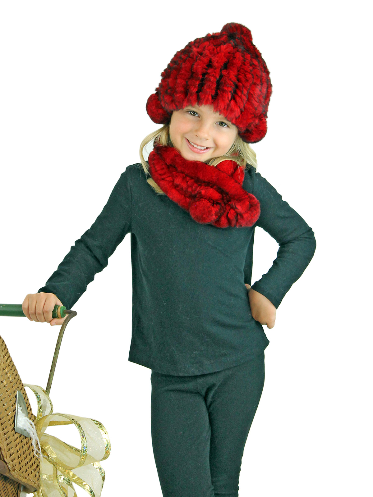 Kid's Red Knitted Rex Rabbit Fur Hat and Scarf Set