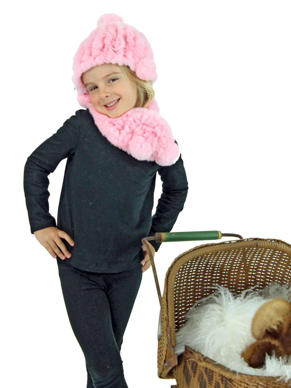 Kid's Pink Knitted Rex Rabbit Fur Hat and Scarf Set