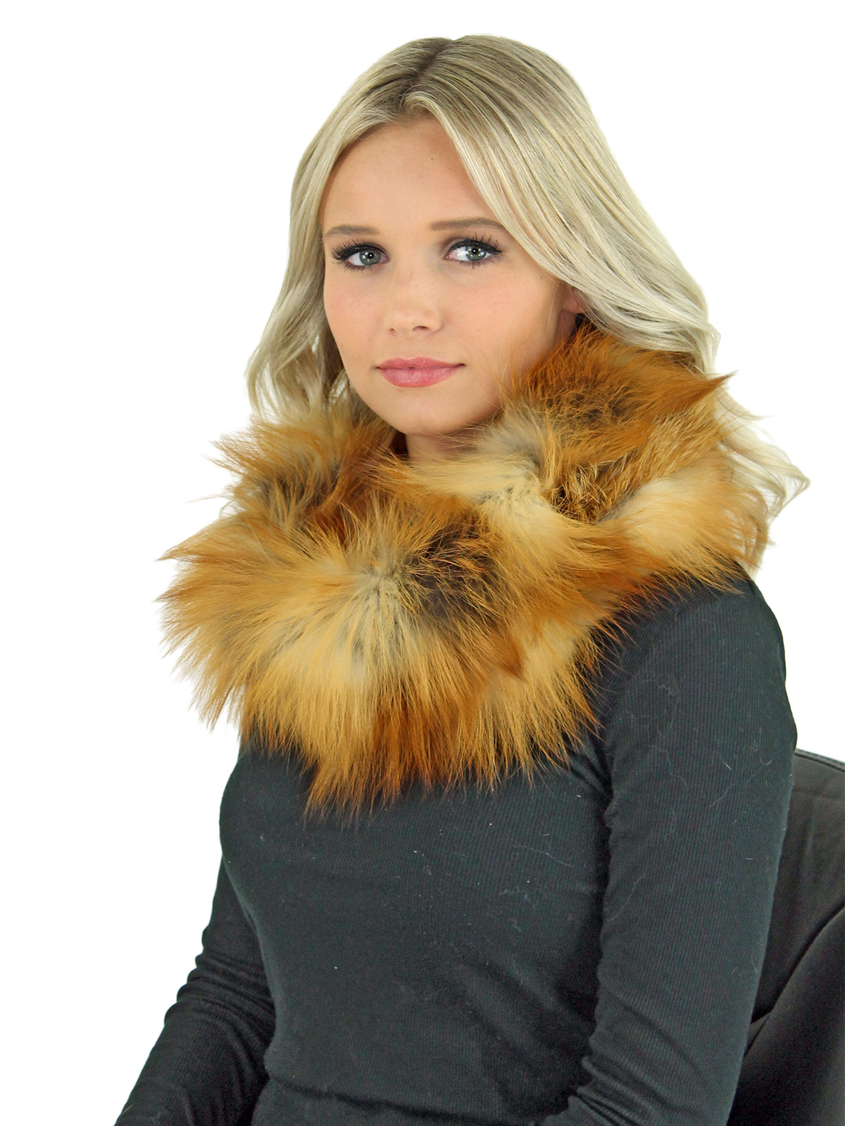 Women's Natural Red Fox Fur Cowl Neck Scarf