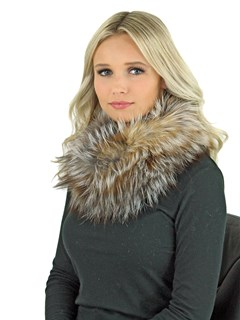 Women's Natural Crystal Fox Fur Cowl Neck Scarf