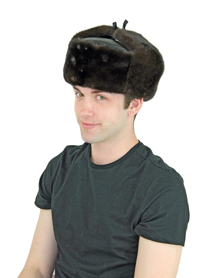 Man's Brown Mink Fur Trooper Hat with Leather Crown