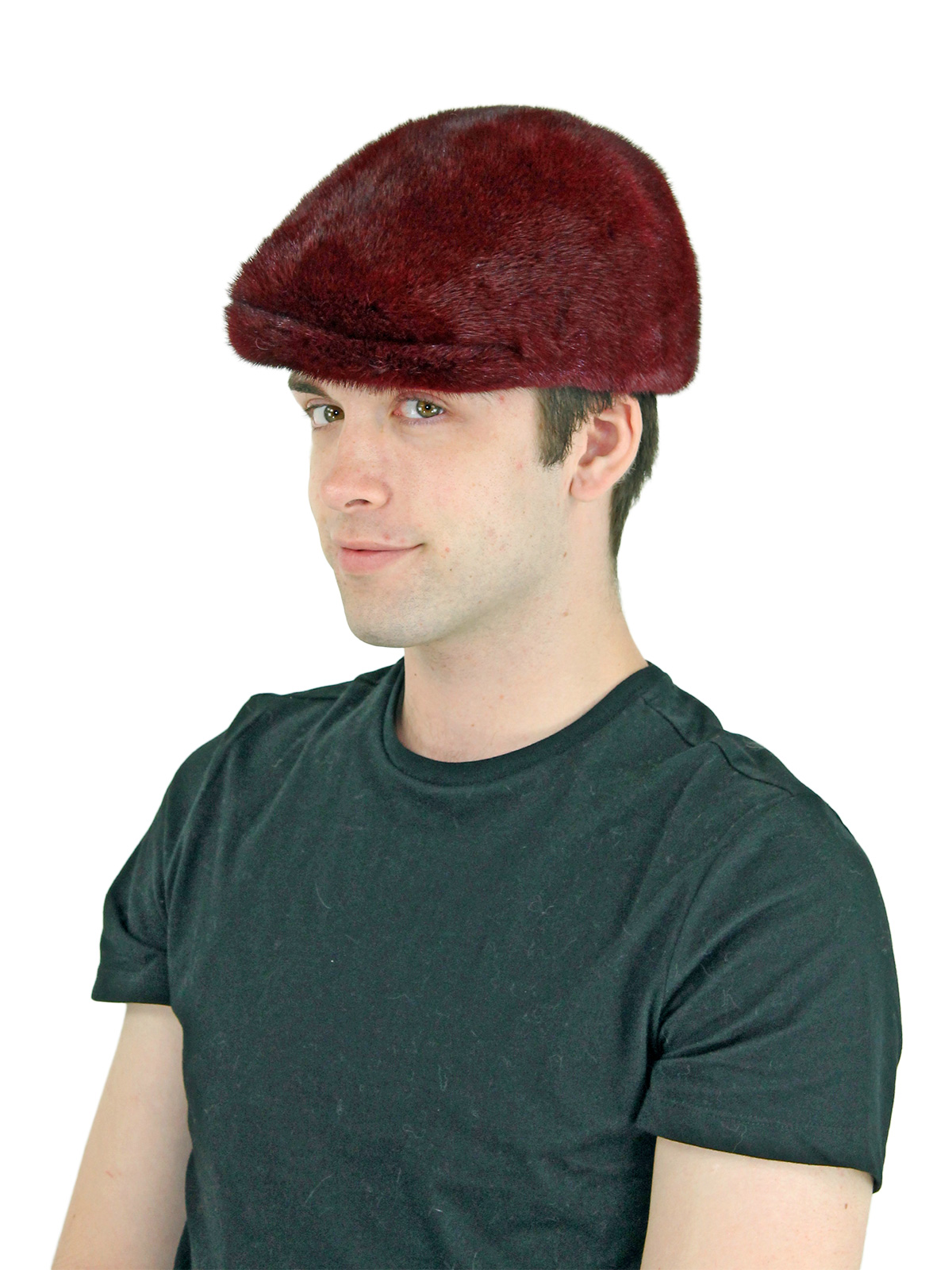 Man's Burgundy Mink Fur Kangol Hat