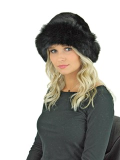 Woman's Black Mink Fur Hat with Matching Fox Halo