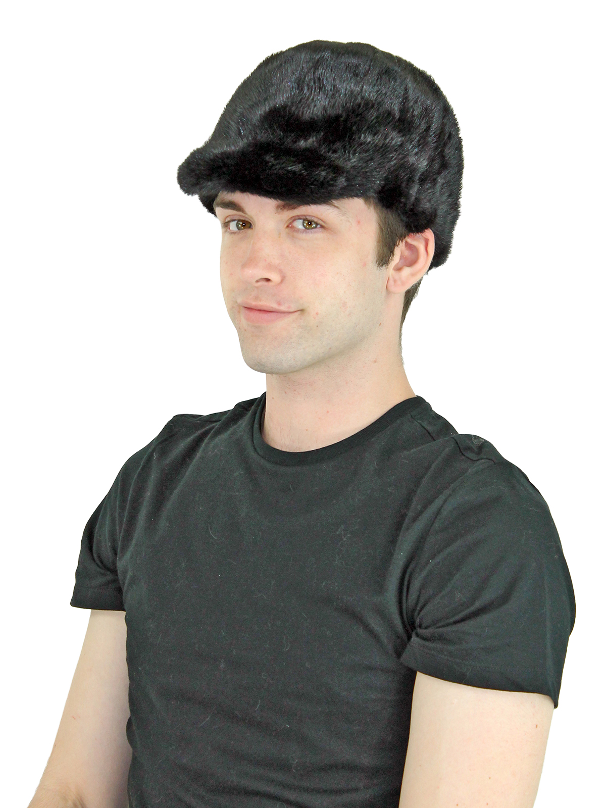 Unisex Black Mink Fur Baseball Cap