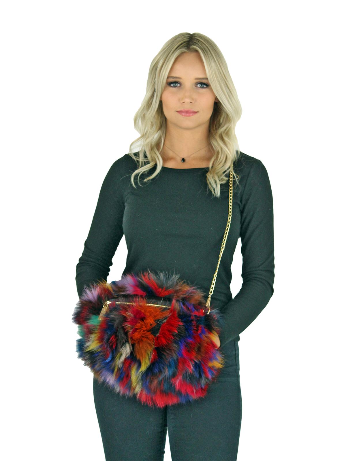 Woman's Multicolor Fox Fur Purse and Hand Muff
