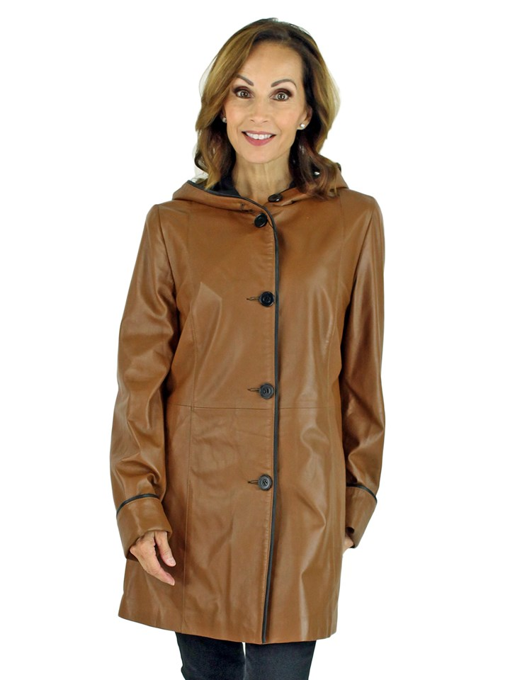 Woman's Golden Tan Hooded Leather Jacket Reversible to Black Rain Fabric