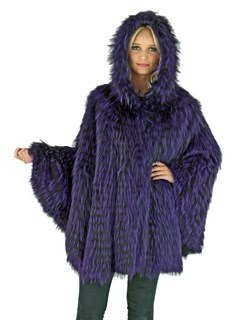 Woman's Purple Dyed Fox Fur Cape with Hood