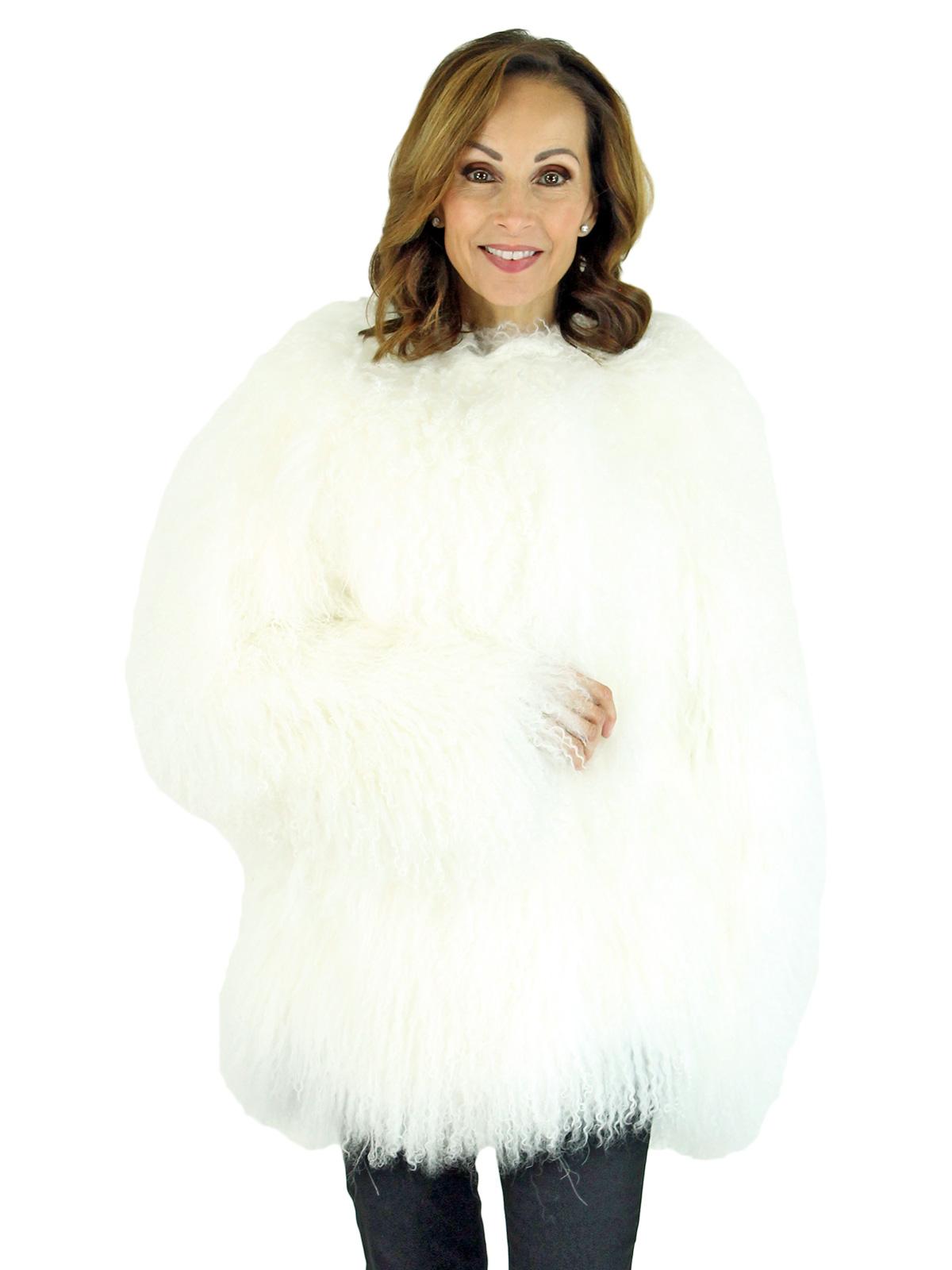 Woman's White Tibetan Lamb Fur Jacket