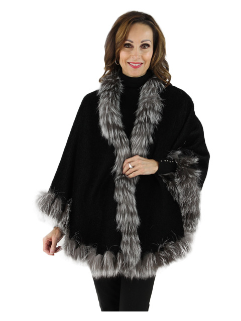 Black Alpaca Cape with Silver Fox