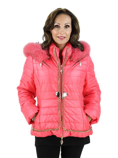 Coral Fabric Fox Jacket